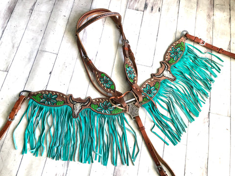 Steer Skull Cactus Painted Set with Turquoise/ Teal Fringe