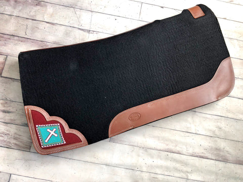 "Teal Cross Beaded Inset Felt 1"" Saddle Pad"