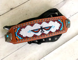Thunderbird Orange, Teal And White Beaded Bronc Halter