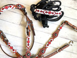 Red and White Beaded Knot Halter