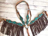 Turquoise and Brown Floral Tooled with Brown Suede Fringe