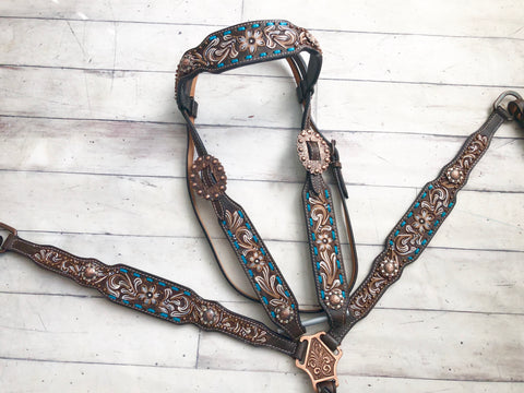 Floral Tooled Teal Buck Stitch Tack Set