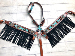 Teal and Gold Diamond Cross Beaded Fringe Set