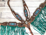Green Fringe Mint Green Arrow Beaded Inset On Tooled Leather Tack Set