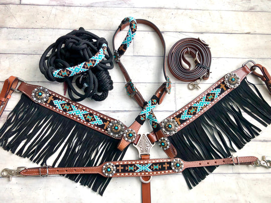 4 Piece Teal and Gold Diamond Cross Beaded with Fringe Tack Set