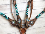 Teal - Black - White Beaded Tack Set
