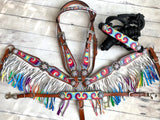 Tie Die Ombre Fringe Set with Rope Halter and Wither Strap