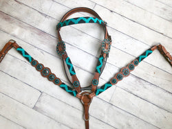 Teal and Black Beaded Tack Set