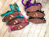 Barrel Racer Hair on Hide Inset Leather Tooled Bronc Halter