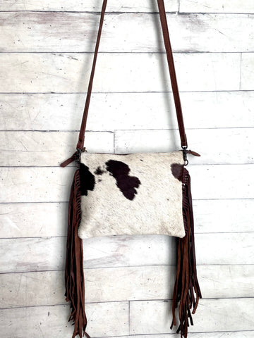 Brown Cowhide Leather Fringe Handbag