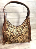 Leopard Hobo Fringe Tooled Handbag