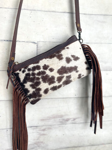 """Small Fry"" Brown Cow Hide Fringe Bag"