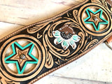 Leather Star with Hair on Hide Inset Tripping Collar
