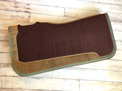 Brown Leather Teal Buck Stitch Felt Saddle Pad