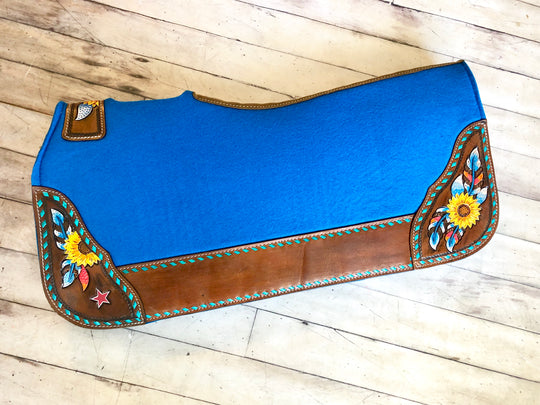 Sun Flower Tooled Hand Painted Saddle Pad