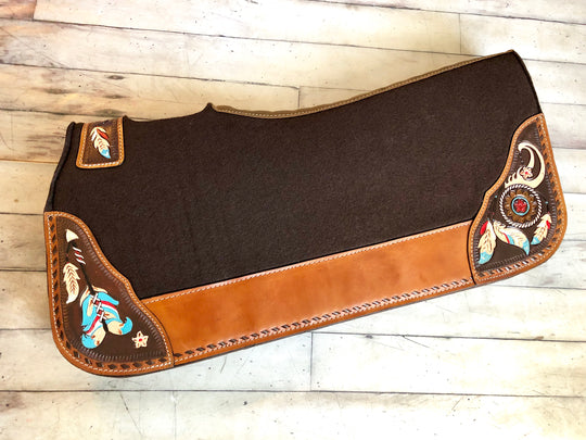 Feather Dream Catcher Tooled Hand Painted Saddle Pad