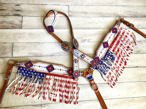 White with Red White & Blue Flag Fringe Tack Set