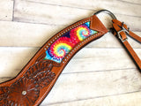Tie Dye Floral Tooled Tripping Collar