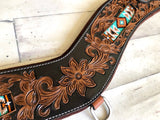 Teal Beaded Inset Leather Tooled Tripping Collar