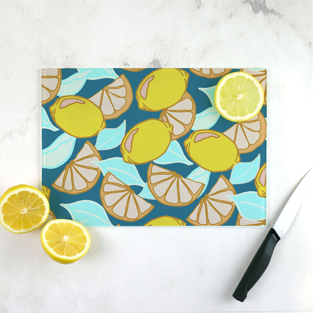 Teal and mint lemon wedge cutting board.