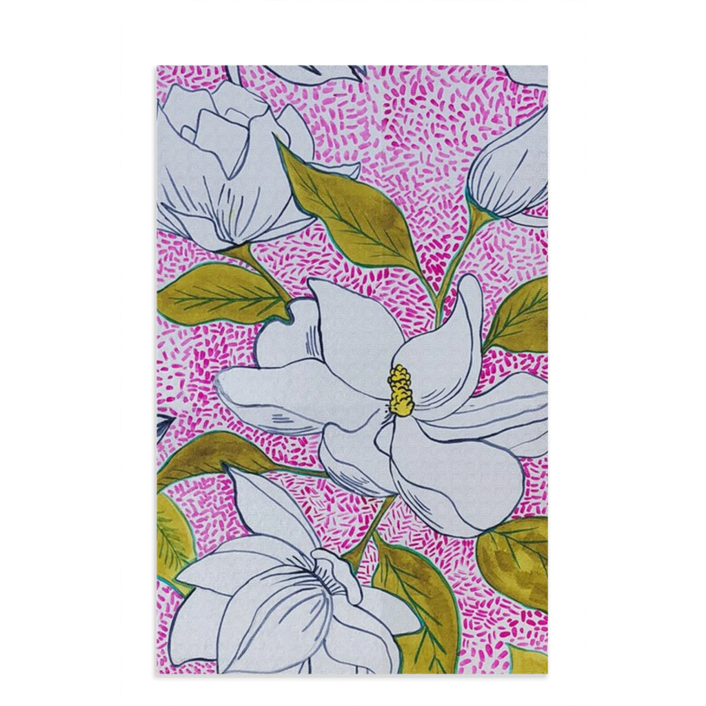 Tea towel hand designed by Jessica Reynolds art. Featuring magnolias.