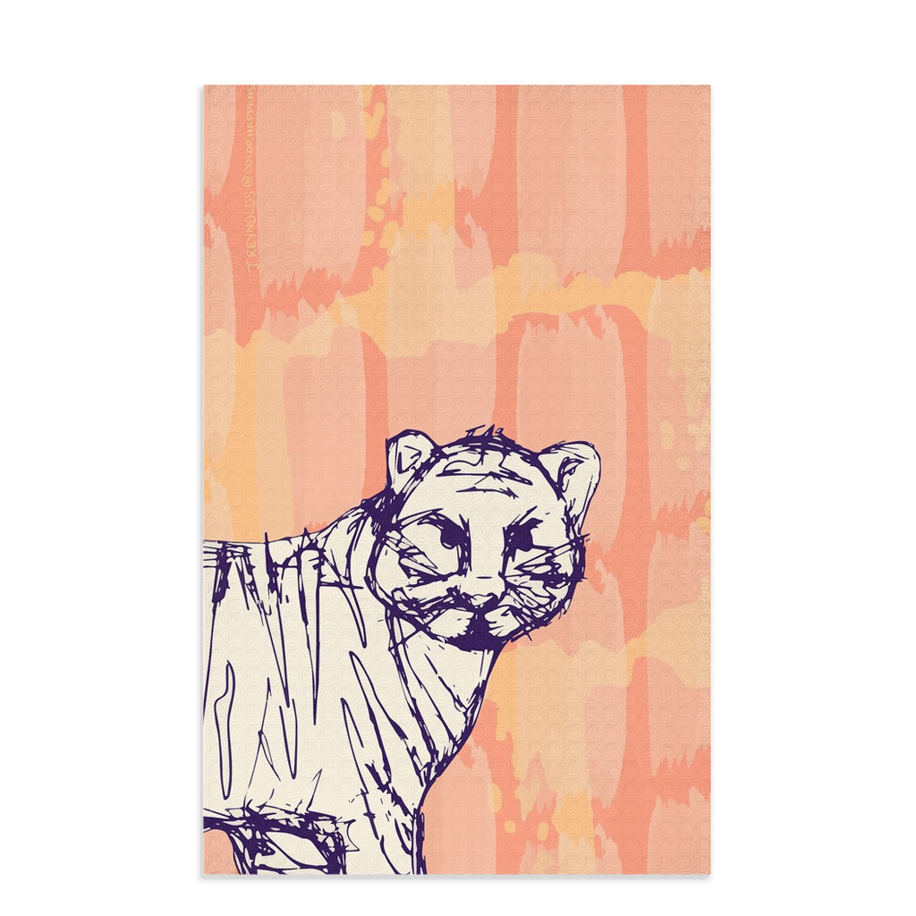 Tiger design waffle microfiber tea towel.  Designed by Jessica Reynolds.