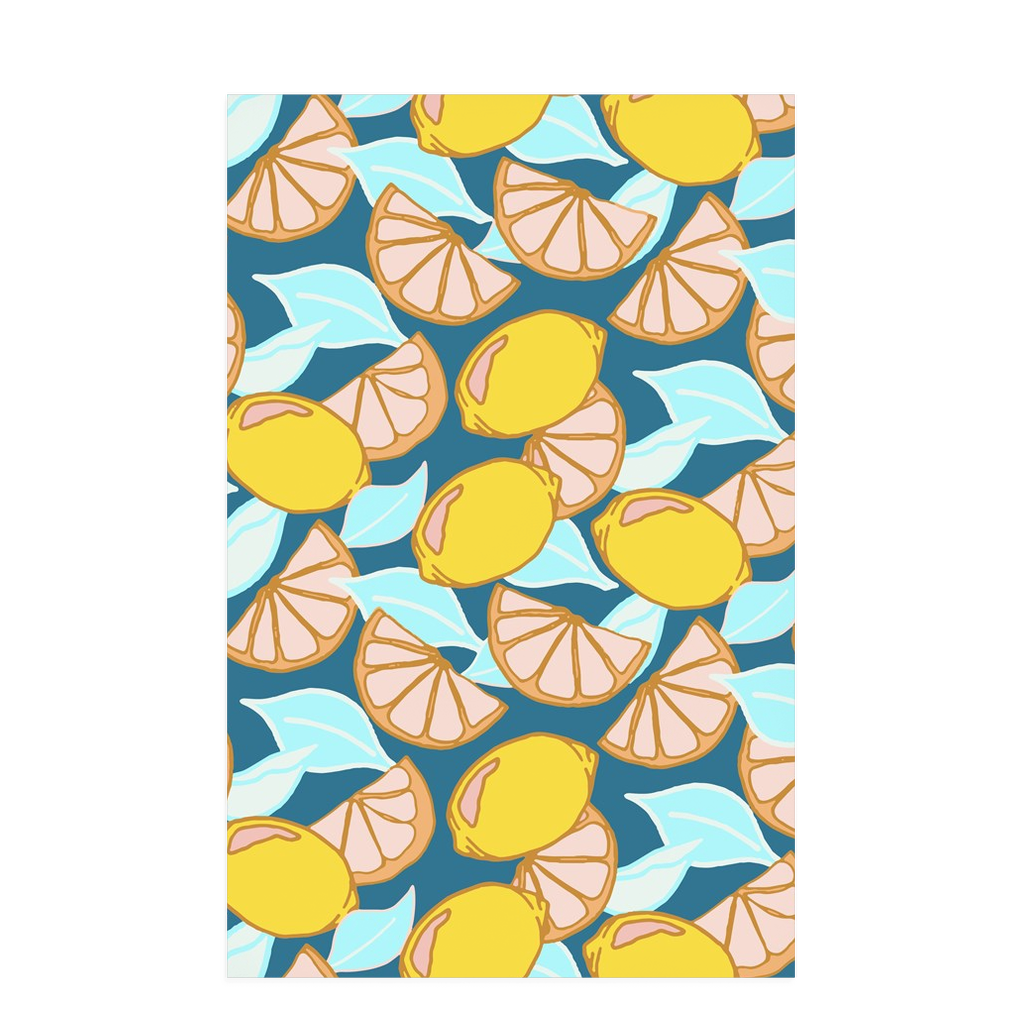 Tea towel hand designed by Jessica Reynolds with a lemon themed design on a waffle microfiber towel.