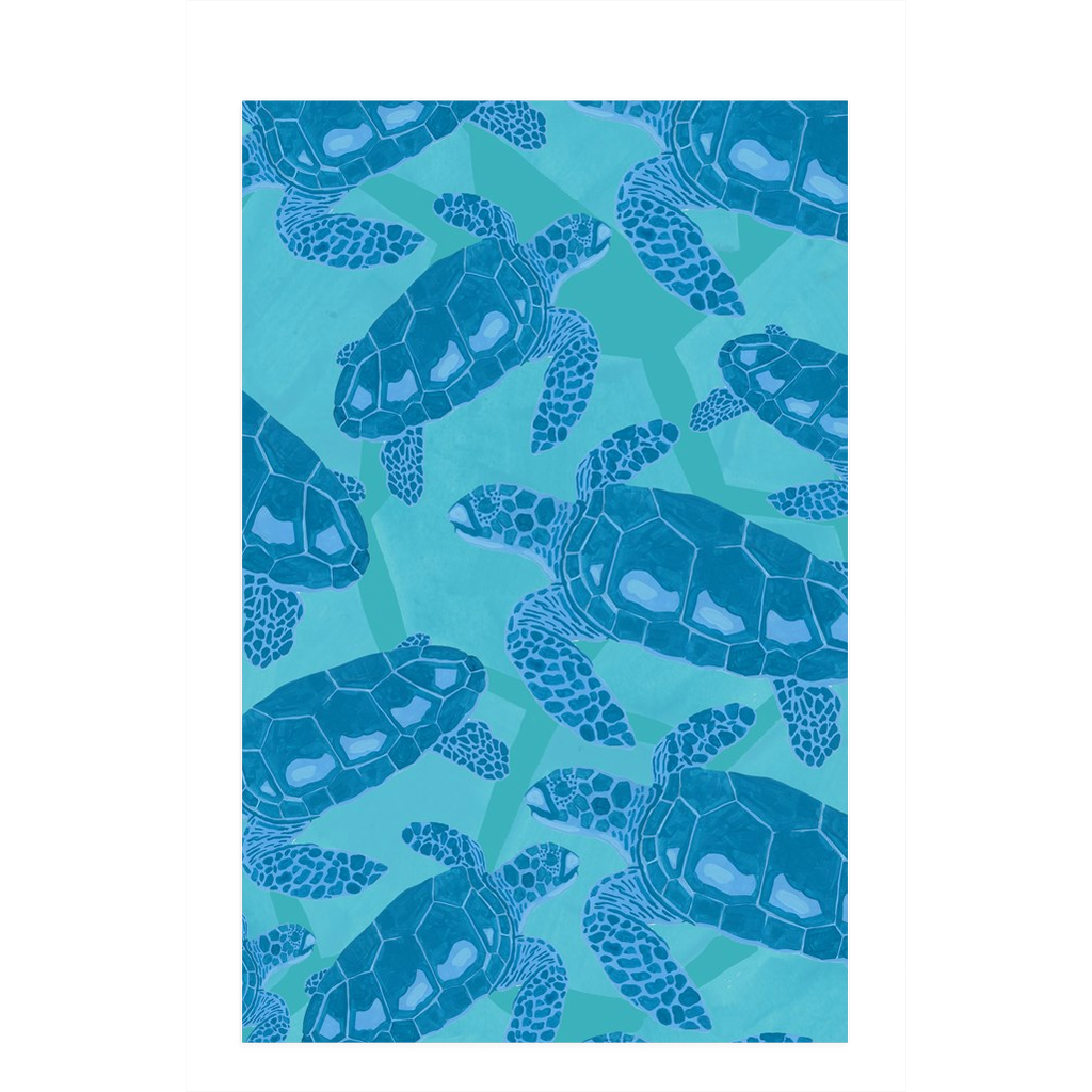 Tea towel hand designed by Jessica Reynolds art. Featuring sea turtles.