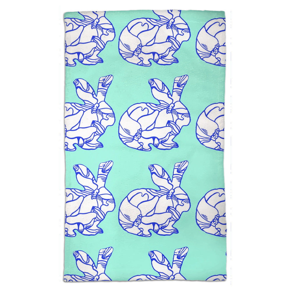 Blue magnolia bunny  tea towel hand designed by Jessica Reynolds.  Microfiber front with a terry loop backing.