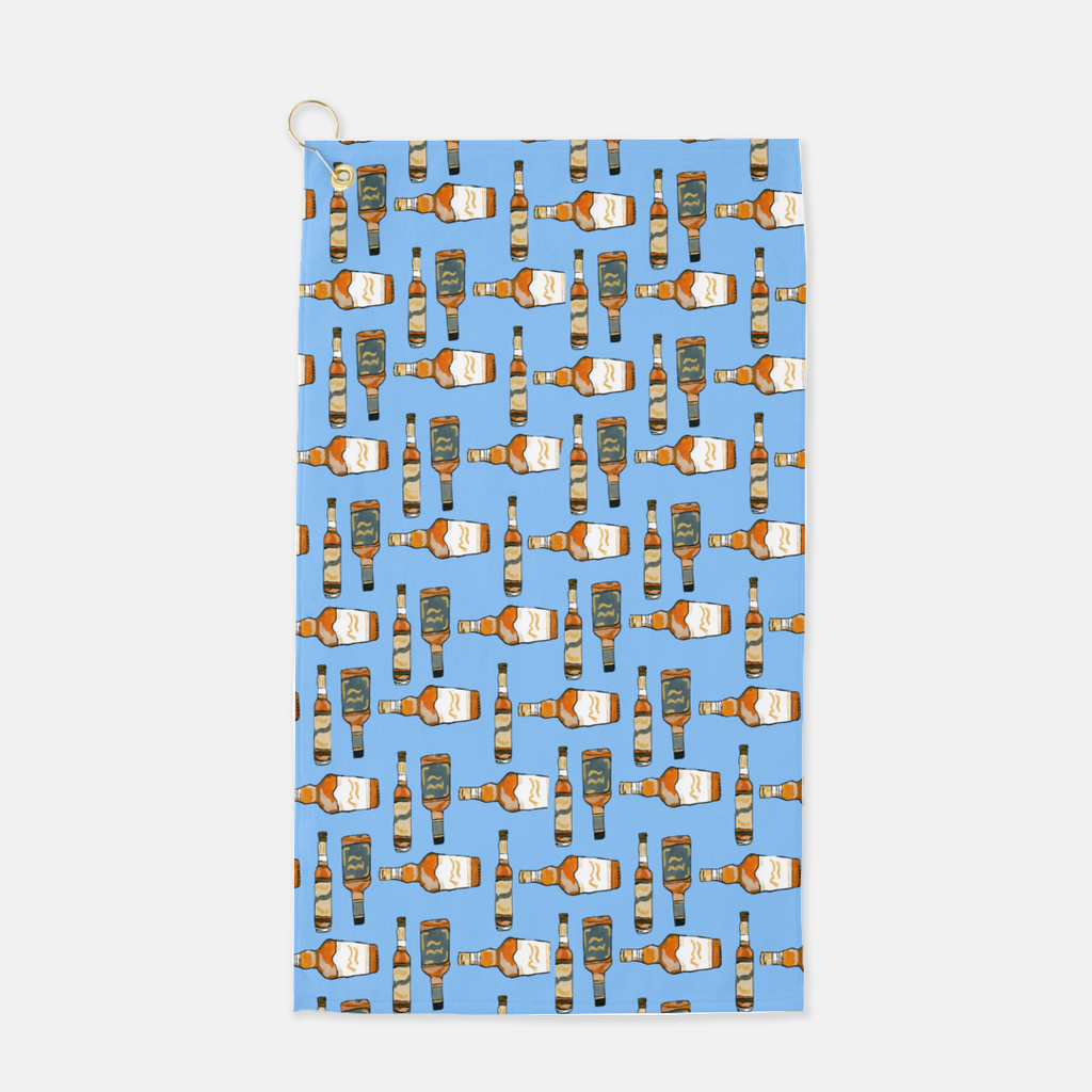 Bourbon bottles on a sky blue background designed for a golf towel.  Microfiber front with terry loop back.