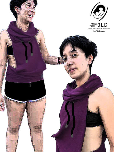SMALL - Sample Jacket - Burgundy Wine with a Narrow Back and Cowl