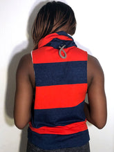 SM Cowl Jacket: Red and Heather Blue Rugby Stripe with Warm Brown Accents