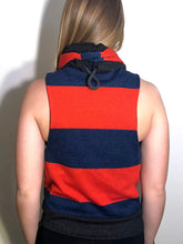 SM/MD Cowl Jacket: Red and Heather Blue Rugby Stripe with Dark Grey Accents