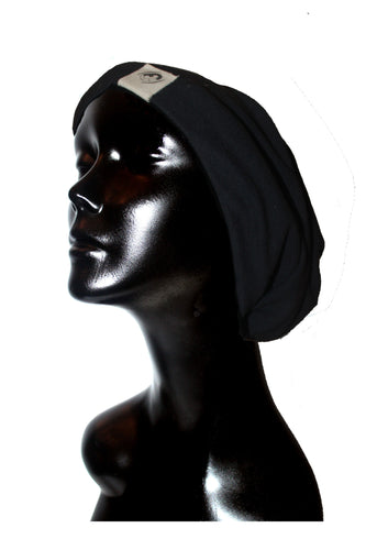 Black Knit Satin or Anti-Microbial Lined Slouch Beanie