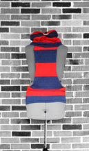 Tiny Human Red & Heather Navy Rugby Stripe Knit Jacket
