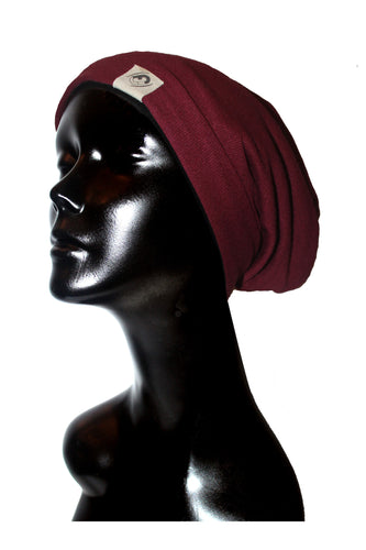 Burgundy Knit Satin or Anti-Microbial Lined Slouch Beanie