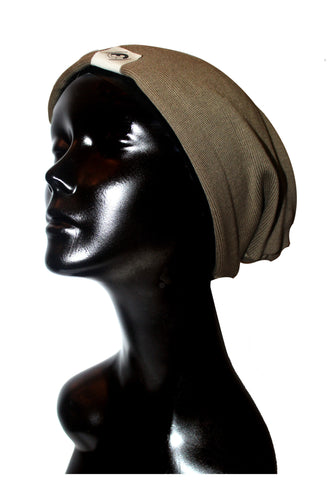 Taupe Knit Satin or Anti-Microbial Lined Slouch Beanie