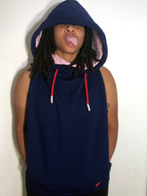 LG Hood Jacket: Navy with Blue Minimal Stretch Sweatshirt and Red Accents
