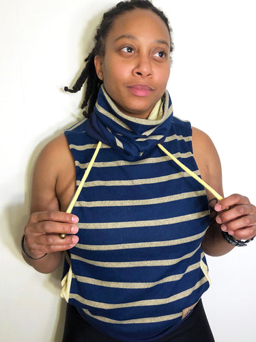 MD/LG Cowl Jacket: Navy and Pale Yellow Stripe Lined with a Pale Yellow Ribbed Knits