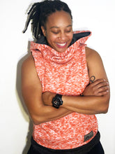 LG Hood Jacket: Fuzzy Heather Orange Minimal Stretch Sweatshirt with Grey Accents