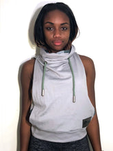 SM/MD Cowl: Taupe Light Weight Lined with Grey and Olive Stripe