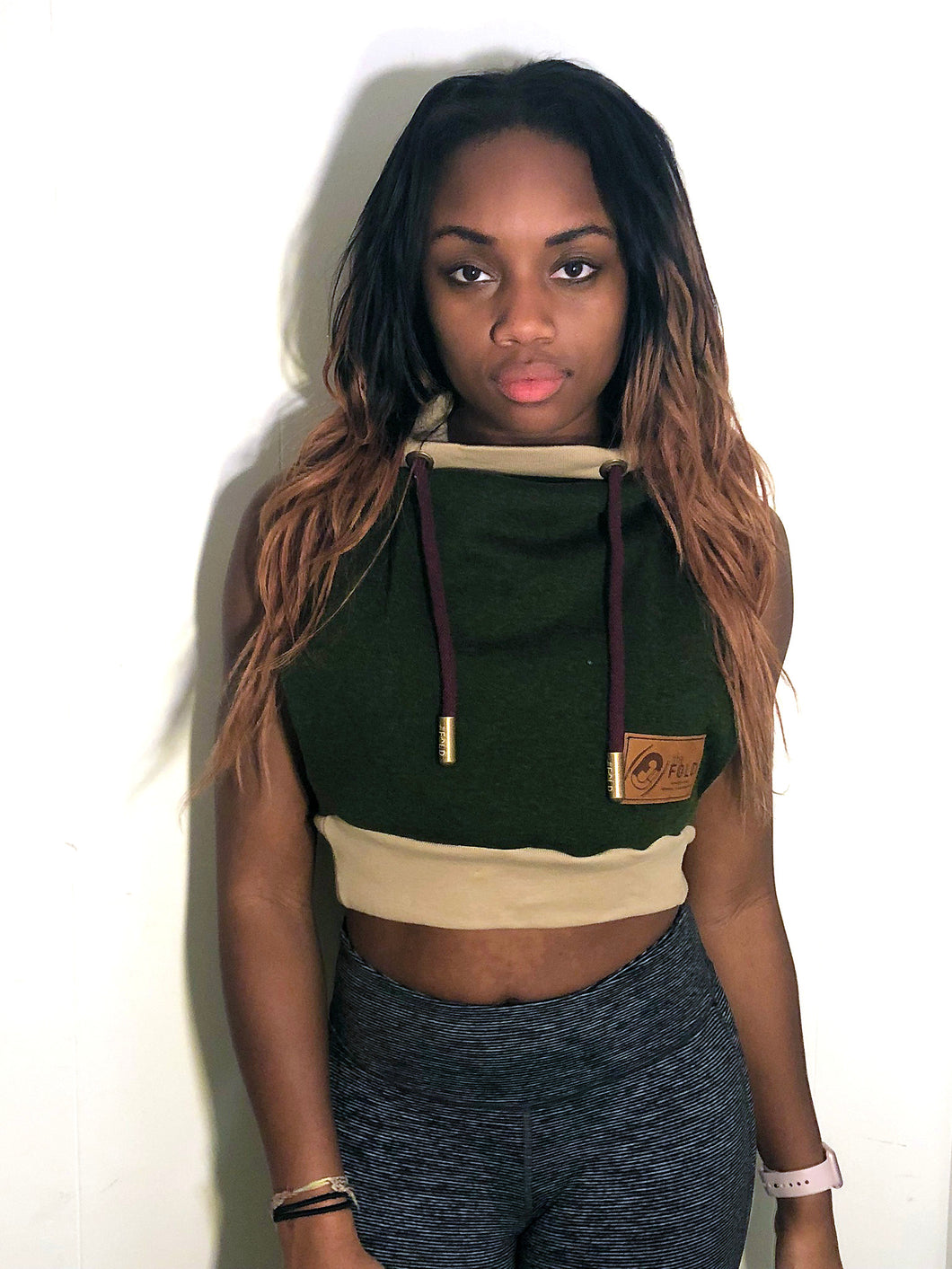 SM/MD Hood Crop Jacket: Deep Olive Sweatshirt with Brown and Burgundy Accents