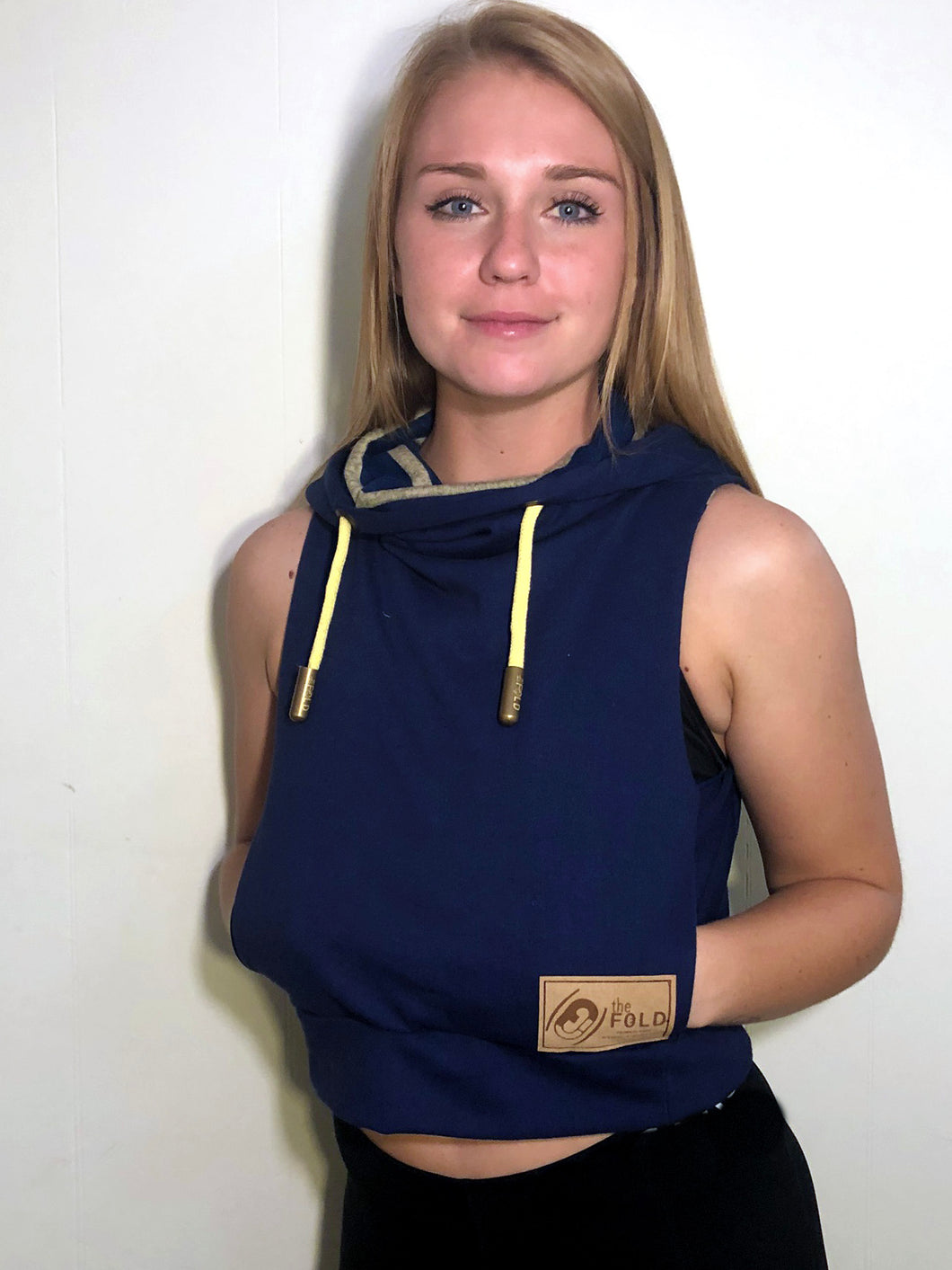XS/SM Hood Jacket: Navy Blue Minimal Stretch Terry With Yellow and Blue Stripes