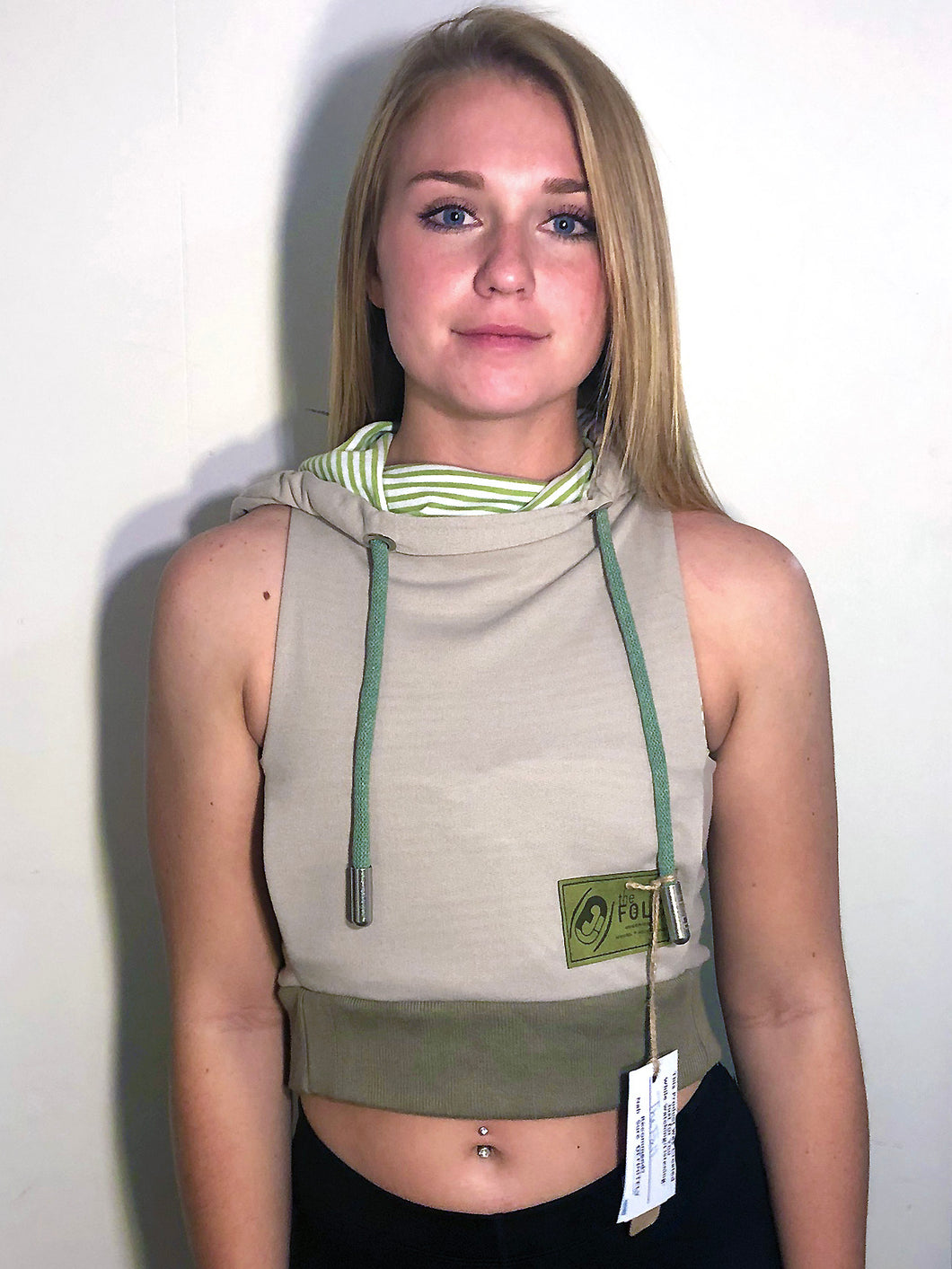 XS/SM Crop Hood Jacket: Light Tan Light Weight Knit Lined with Green and White Stripes
