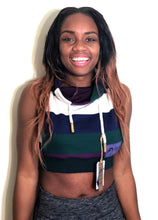 SM Hood Crop Jacket: Blue/White/Purple/Green Stripe Knit