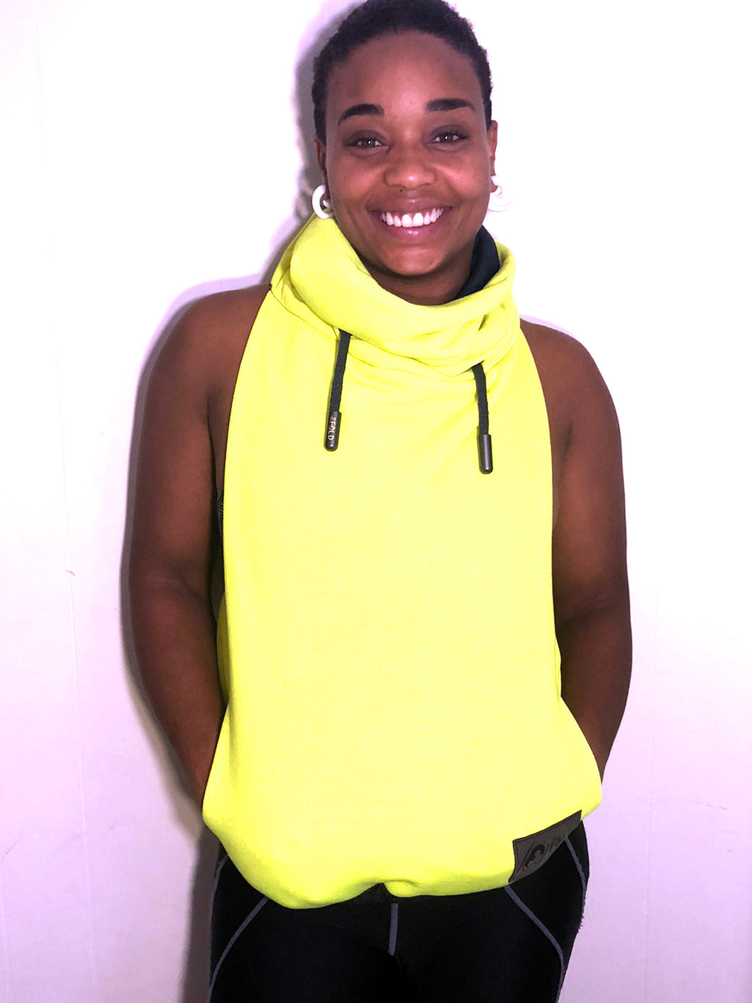 SM/MD Cowl Jacket: Neon Yellow Sweatshirt lined with Dark Hunter Green Jersey Knit