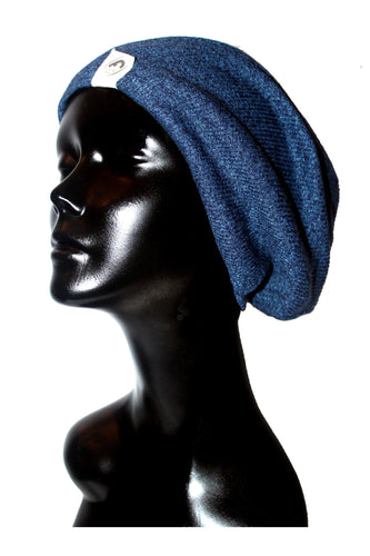Heather Blue Ribbed Knit Satin or Anti-Microbial Lined Slouch Beanie