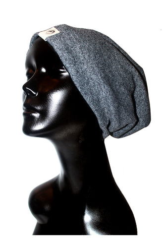 Heather Black Ribbed Knit Satin or Anti-Microbial Lined Slouch Beanie