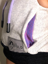 XS/SM/MD Hood Crop: Heather Light Grey with Purple/Pink Accents
