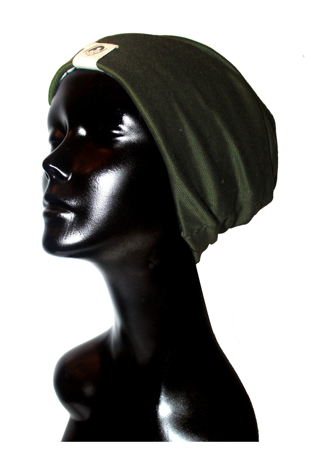 Olive Ribbed Knit Satin or Anti-Microbial Lined Slouch Beanie